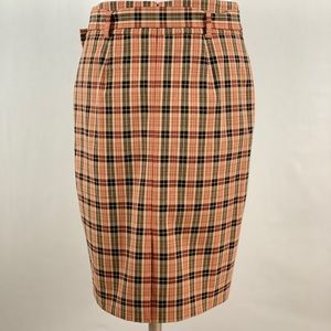 LIKE NEW Plaid Belted Retro Pencil Skirt 8P